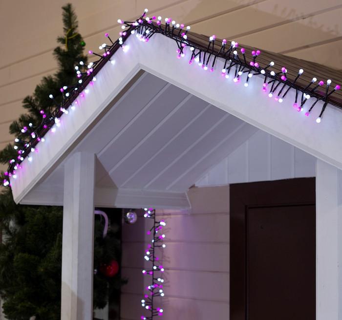 Электрическая гирлянда Жемчуг 50 LED черный провод 5 м + переходник, розовый