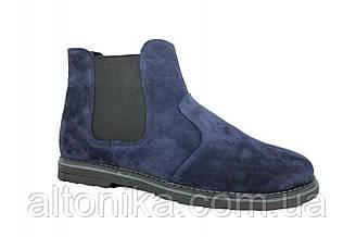 STTOPA зима. Размеры 46-49. Ботинки Челси больших размеров из натуральной кожи. БМ38-4649 Синие