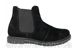 STTOPA зима. Размеры 46-49. Ботинки Челси больших размеров из натуральной кожи. БМ38-4649 Черные