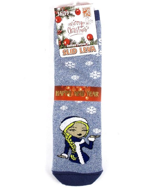 Носки теплые новогодние качество люкс Slid Leva размер 36-39 голубые