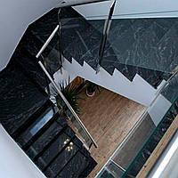 Облицювання сходів чорним гранітом., фото 1
