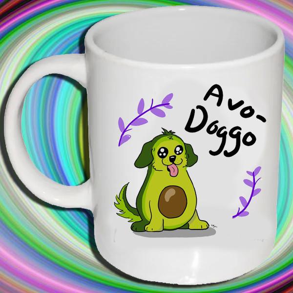 """Белая кружка (чашка) с принтом """"Avo-Doggo"""""""