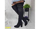 Сапоги чулки ботфорты на удобном широком каблуке классика замшевые К2362, фото 4
