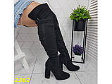 Сапоги чулки ботфорты на удобном широком каблуке классика замшевые К2362, фото 6