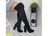 Сапоги чулки ботфорты на удобном широком каблуке классика замшевые К2362, фото 7