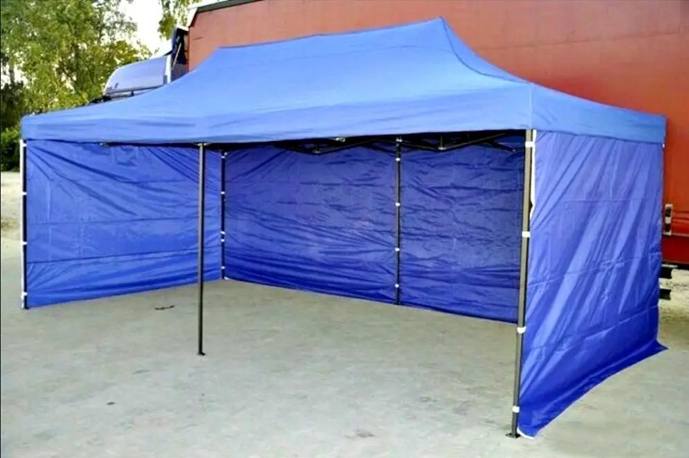 Тент розсувний намет-гармошкас дахом і бічними стінками 3х6 метри (Синій)