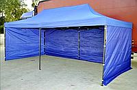 Тент раздвижной шатер-гармошкас крышей и доковыми стенками 3х6 метра (Синий)