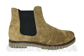STTOPA зима. Размеры 46-49. Ботинки Челси больших размеров из натуральной кожи. БМ38-4649 Коричневые Песок