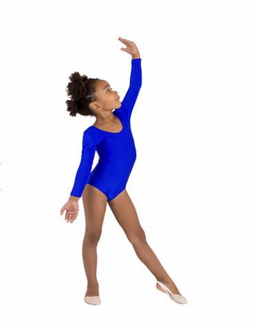 Боди купальник трико  гимнастический для танцев синий , балета, фото 2