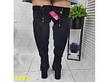 Ботфорты сапоги чулки демисезон замшевые на цилиндрическом широком каблуке К236, фото 6