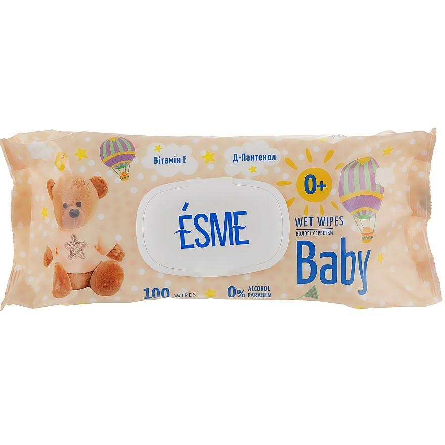 ESME Вологі серветки для дітей 100 шт з клапаном