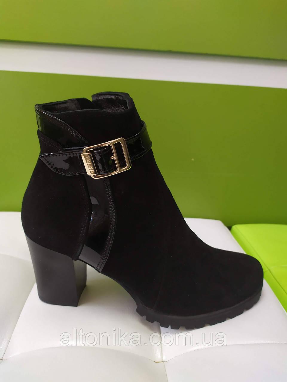 STTOPA деми. Размеры 33-35. Ботинки кожаные маленьких размеров. Каблук 7,5 см. С9-7-3335-75-3343 Черные