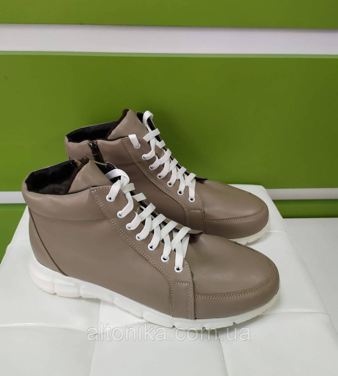 STTOPA деми зима. Размеры 40-44. Ботинки кожаные на широкую ногу больших размеров! С9-58-4044-35-4044 Бежевые