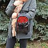Женский маленький рюкзак с пайетками K23-17/16 черный с красным на молнии