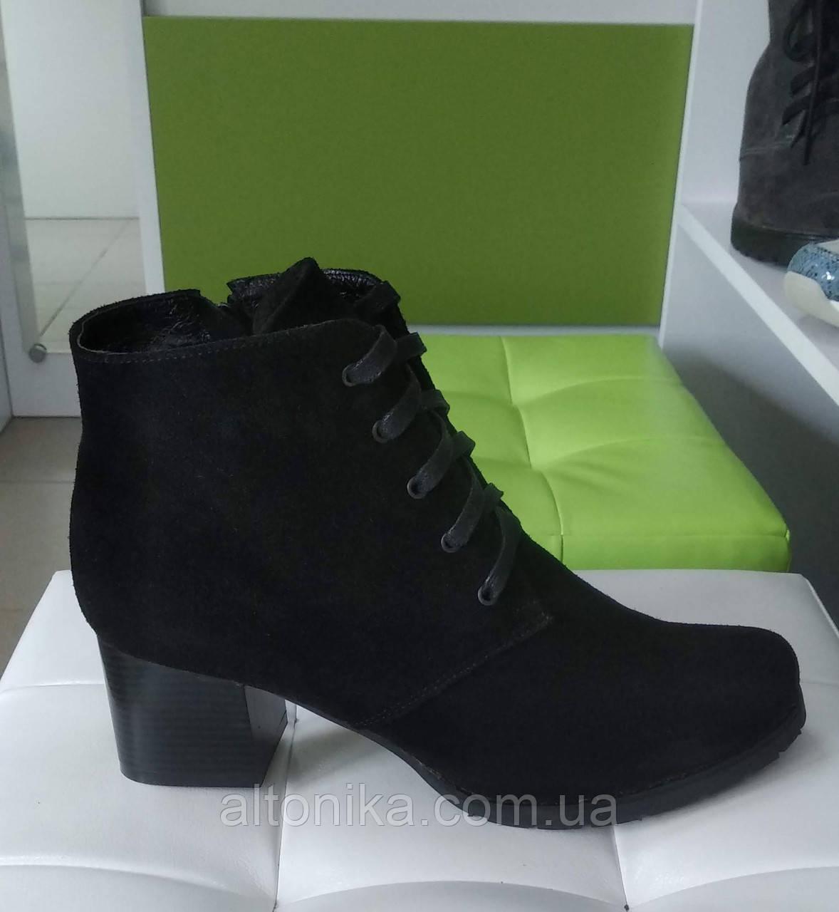 STTOPA деми зима. Размеры 42-43. Ботинки кожаные больших размеров! Каблук 6 см. С9-1-4243-6-4243 Черные