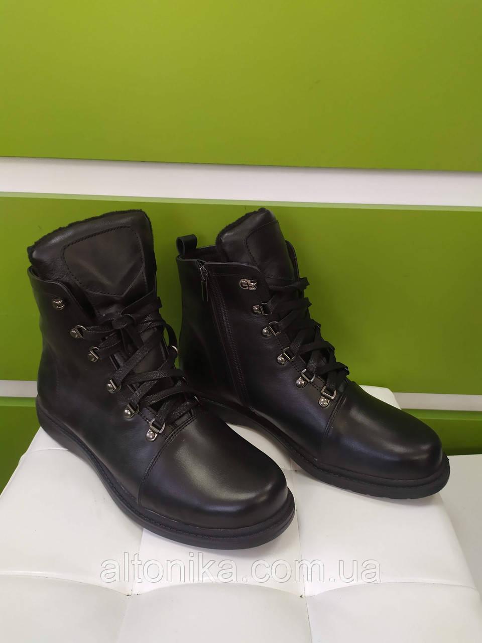 STTOPA деми зима. Размеры 41-44. Ботинки кожаные больших размеров. С9-66-4144-25-3344 Черные