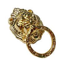 Ручка Голова льва с кольцом 28х50 мм золото