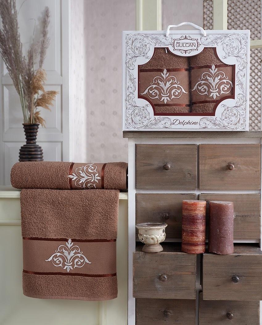 Набор полотенец Gulcan Delphine brown 50х90 + 70х140