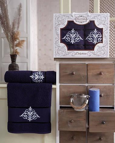 Набор полотенец Gulcan Delphine dark-blue 50х90 + 70х140, фото 2