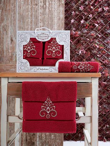 Набор полотенец Gulcan Delphine red 50х90 + 70х140, фото 2