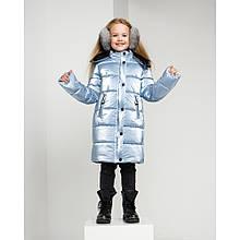 Теплое зимнее пальто для девочки Ульяна цвет светлый джинс