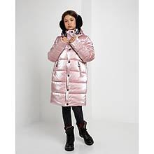Зимняя удлиненная куртка для девочки Ульяна в цвете пудра