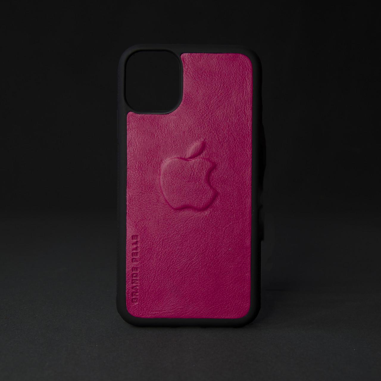 Кейс для IPhone, фуксія, з металевою вставкою для автотримача