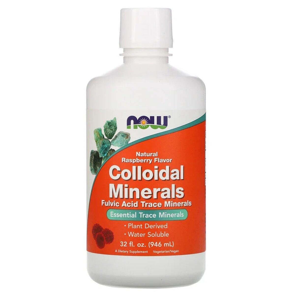 Коллоидные Минералы, с натуральным вкусом малины, Colloidal Minerals, Now Foods, 946 мл