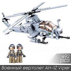 """Конструктор Sluban b0838 """"Военный вертолет AH-1Z Viper"""" 492 деталей"""
