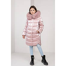Детская зимняя куртка София в цвете пудра с натуральной песцовой опушкой