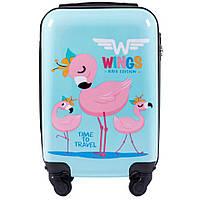 """Чемодан пластиковый детский Wings """"Flamingo"""" серии """"Kids Edition"""" мини XS ручная кладь на 4 колесах Голубой"""
