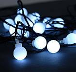 Электрическая гирлянда Шарики 18 мм 20 LED, 7 м + переходник, белый, фото 2