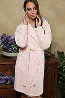 М'який домашній халат блідо-рожевого кольору, фото 1