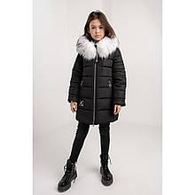 Красивая зимняя куртка для девочки Леся с мехом
