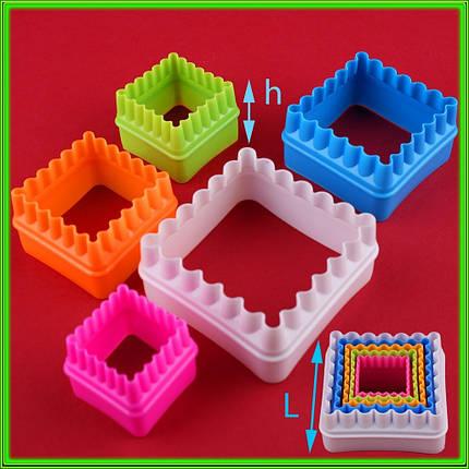 Набор формочек кондитерских Квадратики из 5 штук L ( 7.5см/6см/5см/4см/3,5см ) h3.5см, фото 2