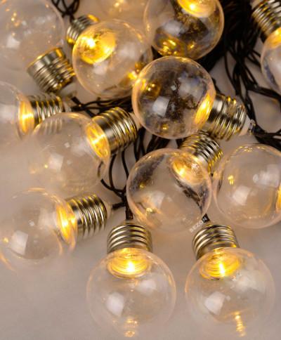 Электрическая гирлянда ЛАМПОЧКИ 40 мм, 12 LED, 5 м + переходник, белый теплый
