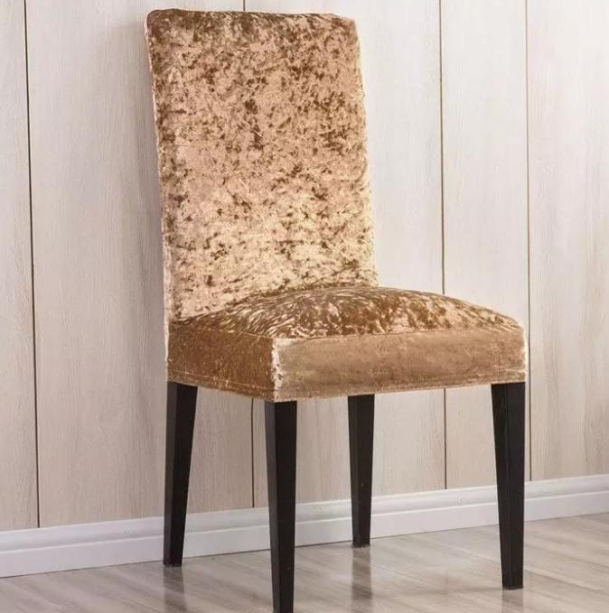 Чехлы на стулья со спинкой велюровый Кофейный Турция