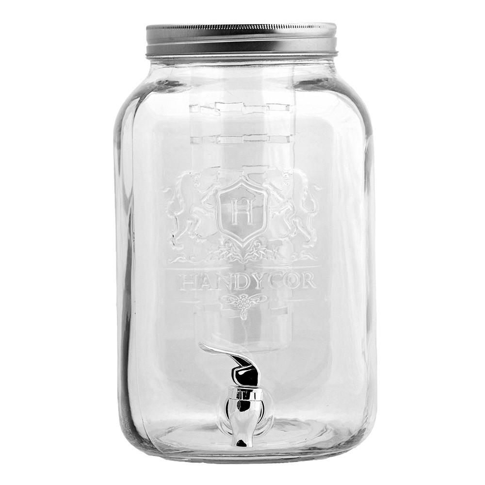 Стеклянный диспенсер для напитков с краником и отсеком для льда 8 литров