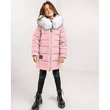 Розовая зимняя куртка Леся с искуственным мехом