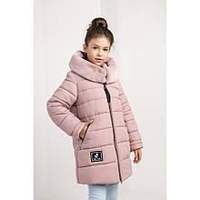 Теплая зимняя куртка Леся капюшон с мехом мутон