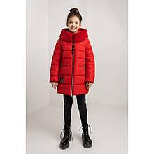 Красная зимняя куртка для девочки Леся с мехом мутон