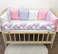 Бортики-подушечки, бортики в детскую кроватку, комплект белья для новорожденного бортики + простынь