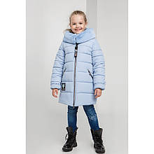 Голубая зимняя куртка пальто для девочек Леся