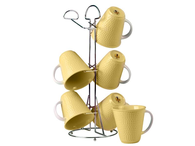 Чашки на підставці Зара жовті 340мл 7пр