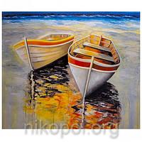 """Картина по номерам """"Лодки на берегу"""" на полотне, большая 400*500мм №30341"""