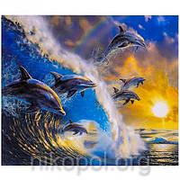 """Картина по номерам """"Дельфины"""" на полотне, большая 400*500мм №30349"""