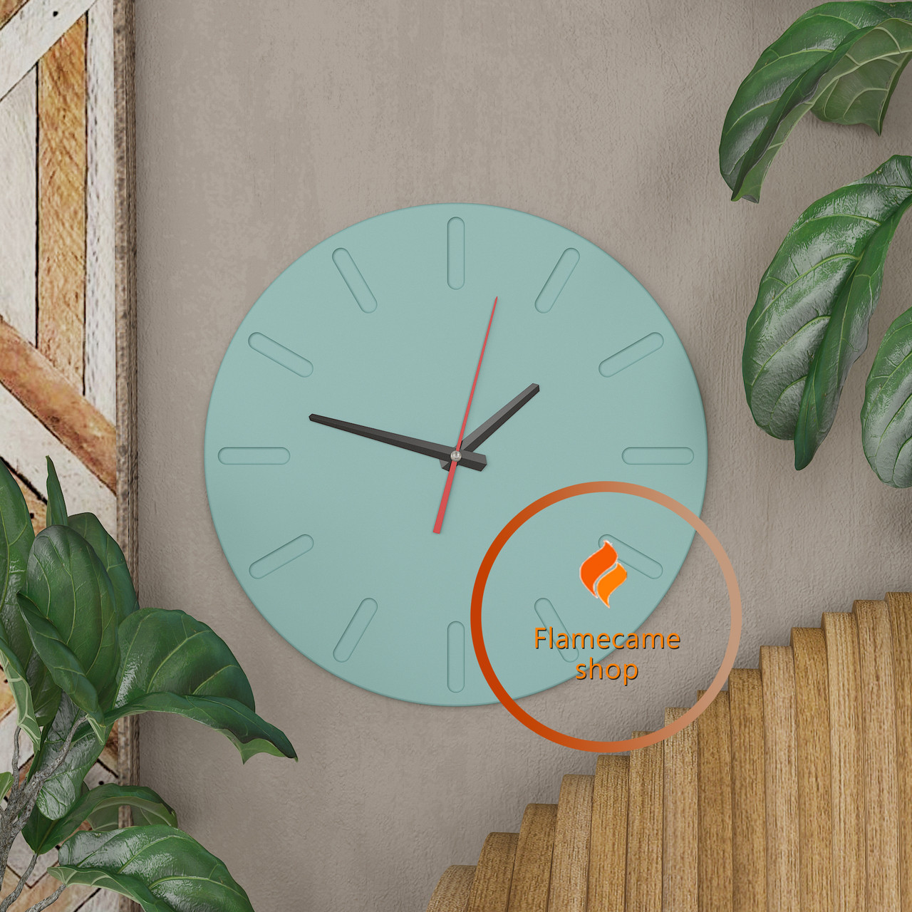 Круглые настенные часы со шкалой циферблата Код: W-1