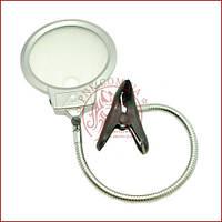 Лампа лупа настільна для манікюру і вишивки MG15122-1C лінза 130мм акрил, прищіпка, LED підсвічування