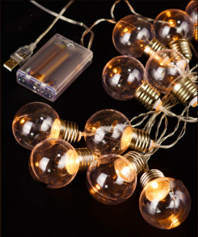 Электрическая гирлянда Лампочки 40 мм на батарейках + USB, 10 LED 3 м, белый теплый
