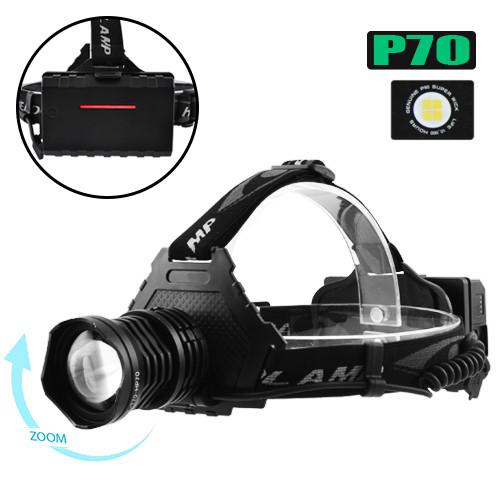 Фонарь T70Pro-HP70/ 3*18650/ ЗУ MicroUSB /P50 LED/ Zoom/ Крепление на голову